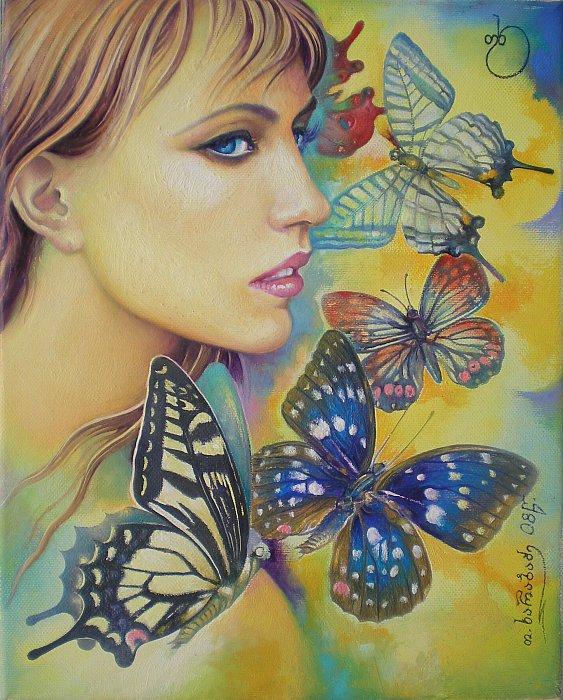 """Оригинал - Схема вышивки  """"Девушка и бабочки """" - Схемы автора  """"vesnyshka63 """" - Вышивка крестом."""