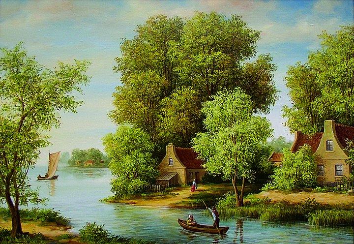 Александр Варикаш – Деревушка у реки