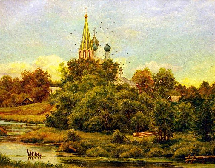 Виктор Андреев – Пейзаж с церковью