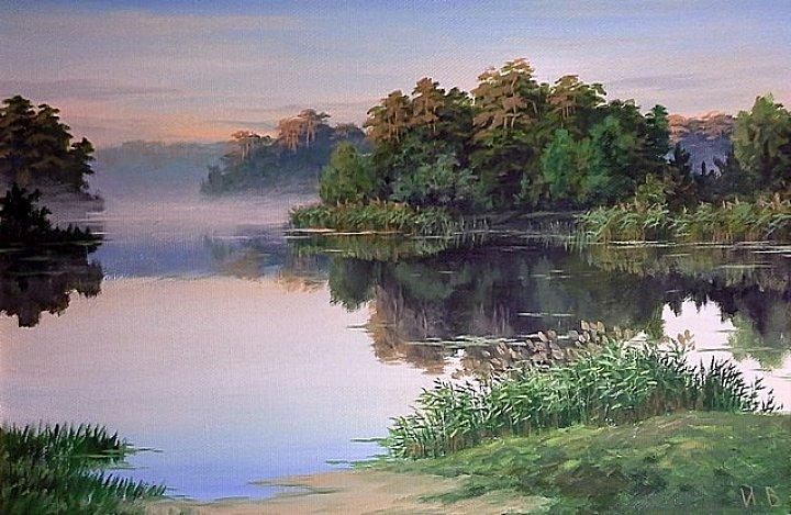 Лесное озеро утром