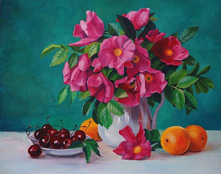 Натюрморт с цветами и вишней