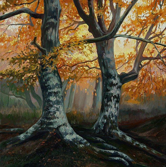 Осенний пейзаж. Два дерева